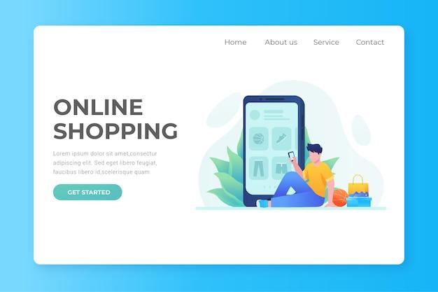 Página de inicio de compras en línea de diseño plano con hombre y teléfono
