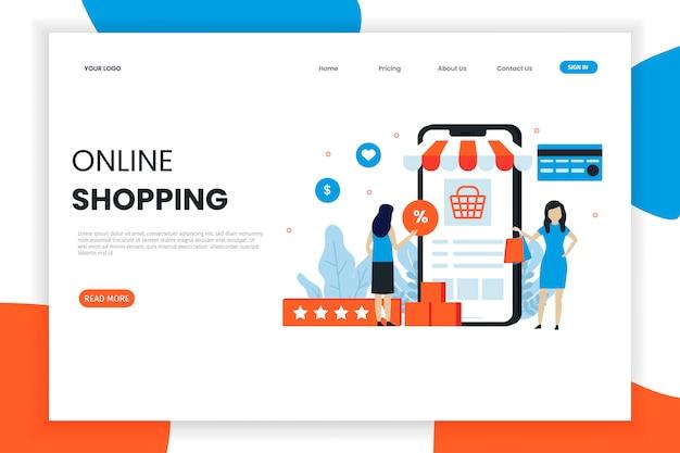 Página de inicio de compras en línea de diseño plano moderno