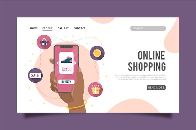 Página de inicio de compras en línea en diseño plano