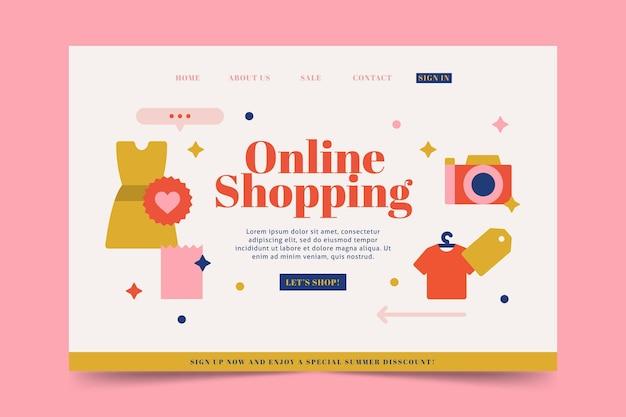 Página de inicio de compras en línea de diseño plano