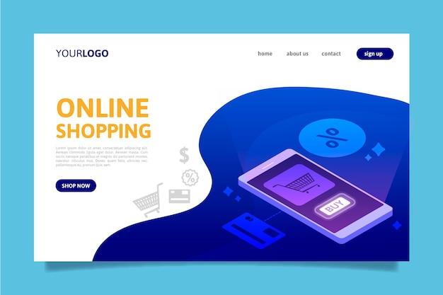 Página de inicio de compras en línea futurista