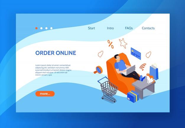 Página de inicio de compras en línea con la imagen del hombre sentado en la silla de su casa y usando una computadora portátil para comprar en internet isométrica