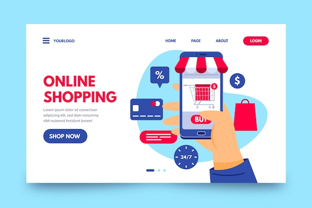 Página de inicio de compras en línea plana