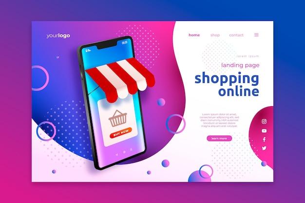 Página de inicio de compras en línea realista