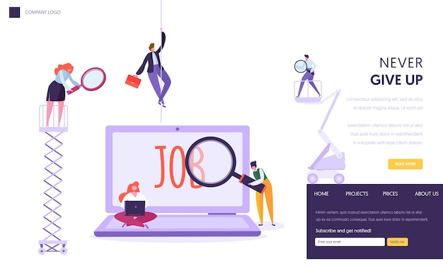 Página de inicio del concepto de búsqueda de empleo en línea. carácter de personas con portátil y lupa en busca de personal de profesión. sitio web o página web de recursos humanos. ilustración de vector de dibujos animados plana