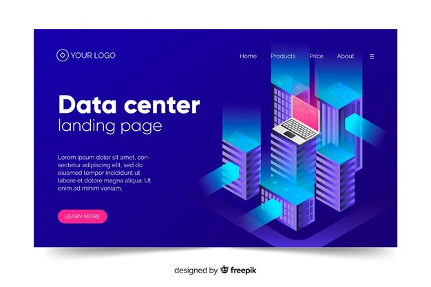Página de inicio del concepto de centro de datos en tonos azules