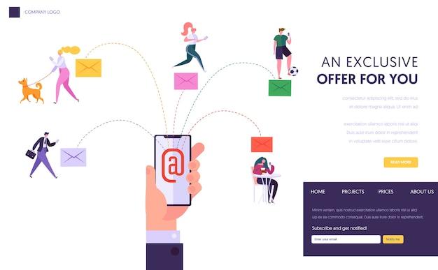 Página de inicio del concepto de chat de red social de usuario. ejecución de una campaña de promoción digital, publicidad directa desde el sitio web o la página web de un teléfono inteligente. ilustración de vector de dibujos animados plana.