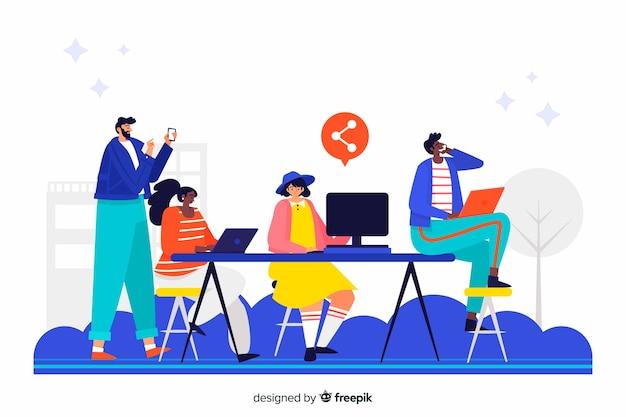 Página de inicio de concepto compañeros de trabajo