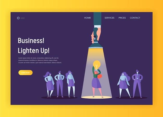 Página de inicio del concepto de idea creativa de liderazgo de contratación. linterna apuntando al personaje de dama de negocios joven iluminando personas. ilustración de vector de dibujos animados planos de carrera de administrador de página web o sitio web