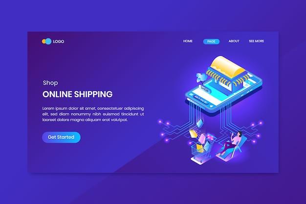 Página de inicio del concepto isométrico de compras en línea de la aplicación