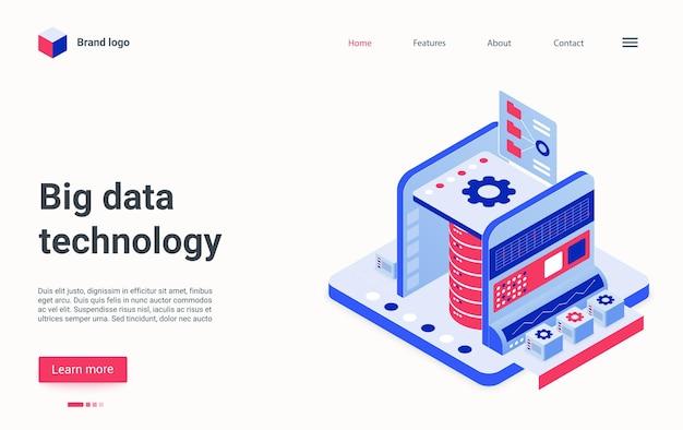 Página de inicio del concepto isométrico de tecnología de big data, servicio de base de datos de tecnología de dibujos animados