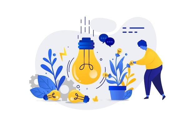 Página de inicio del concepto de lluvia de ideas