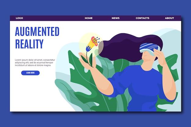 Página de inicio del concepto de realidad aumentada