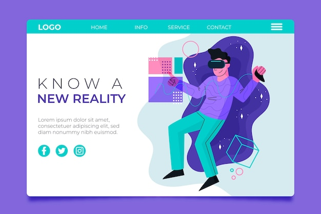 Página de inicio del concepto de realidad virtual con hombre