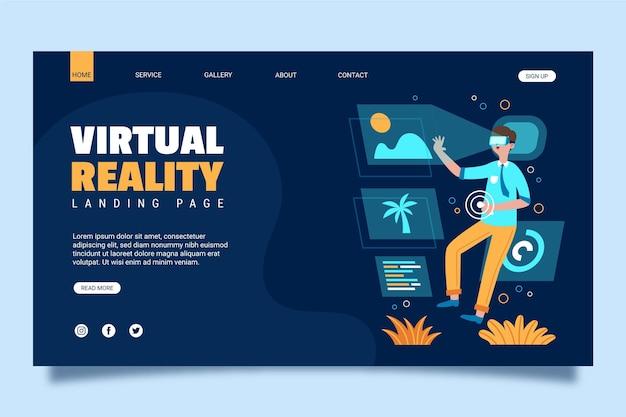 Página de inicio del concepto de realidad virtual