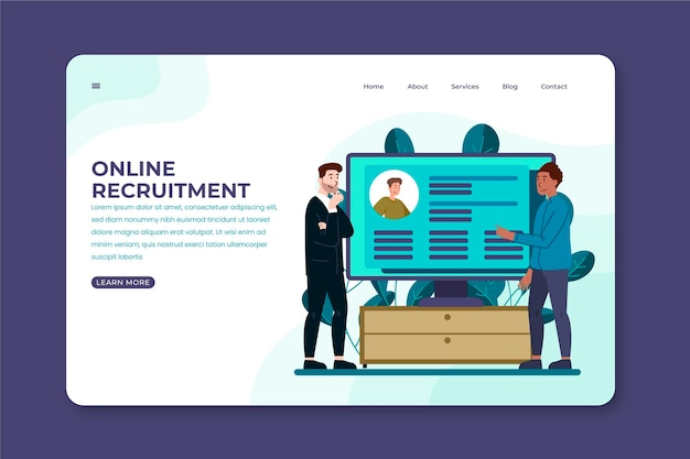 Página de inicio del concepto de reclutamiento