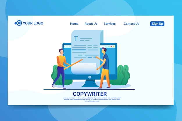 Página de inicio del concepto de redactor
