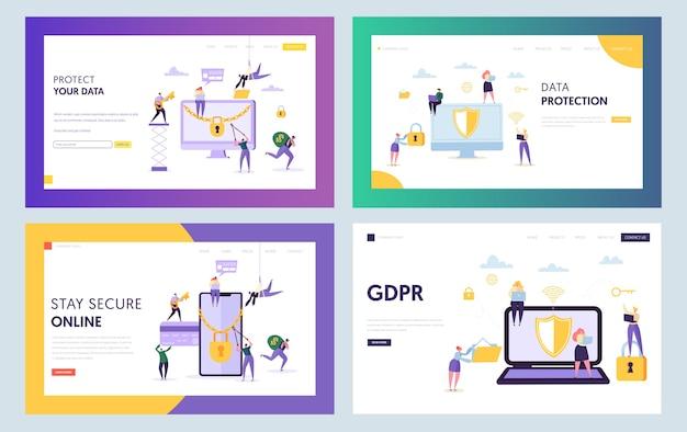 Página de inicio del concepto de seguridad del centro de datos. carácter de gente de negocios con conjunto de teléfono inteligente portátil. sitio web o página web de protección de internet en línea. ilustración de vector de dibujos animados plana gdpr