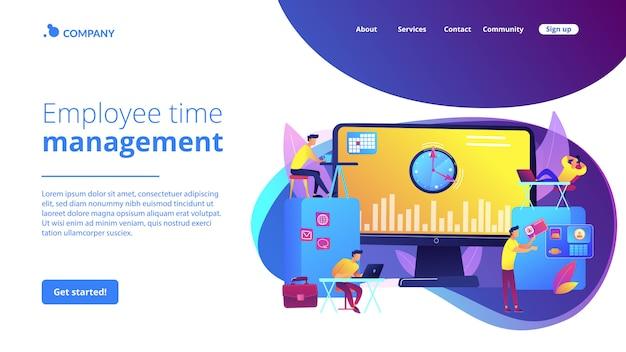 Página de inicio del concepto de sistema de seguimiento de tiempo y asistencia