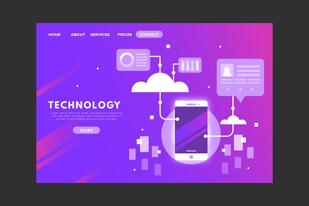 Página de inicio del concepto de tecnología con gradiente