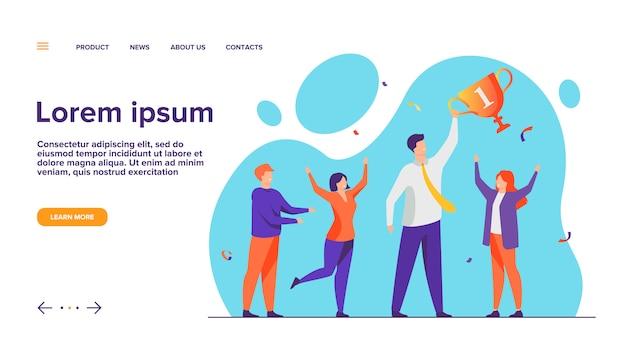 Página de inicio del concepto de trabajo en equipo y éxito del equipo