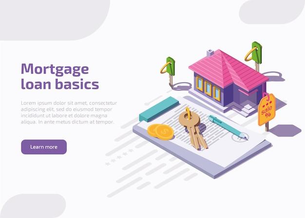 Página de inicio de conceptos básicos de préstamos hipotecarios o banner web.