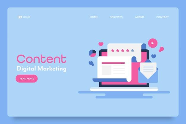 Página de inicio conceptual de marketing de contenidos