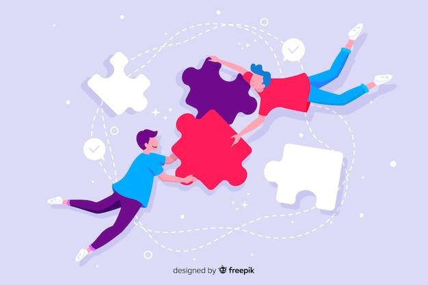 Página de inicio conceptual que conecta equipos