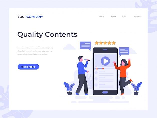 Página de inicio de contenido de calidad