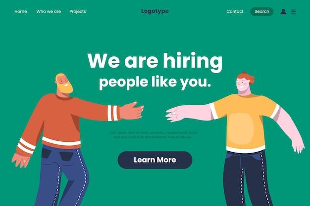 Página de inicio de contratación laboral con ilustración