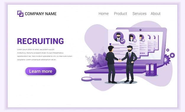 Página de inicio de contratación o reclutamiento.