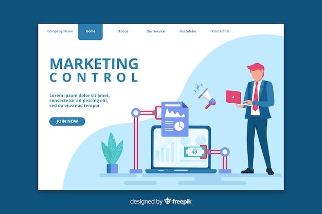 Página de inicio de control de marketing