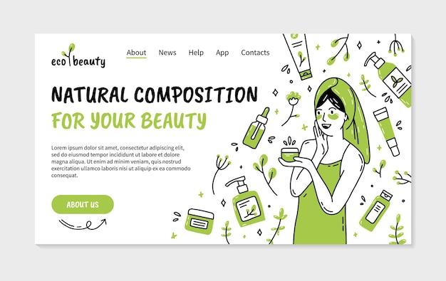 Página de inicio de cosmética ecológica natural con mujer