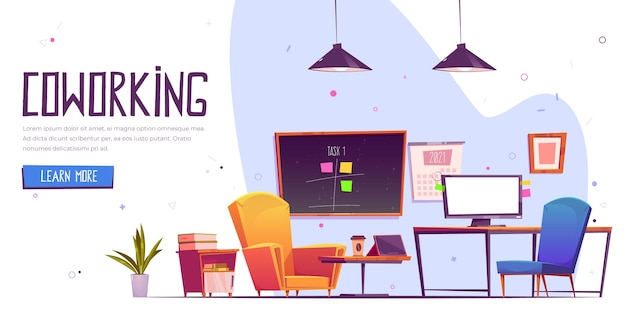 Página de inicio de coworking dibujada a mano plana