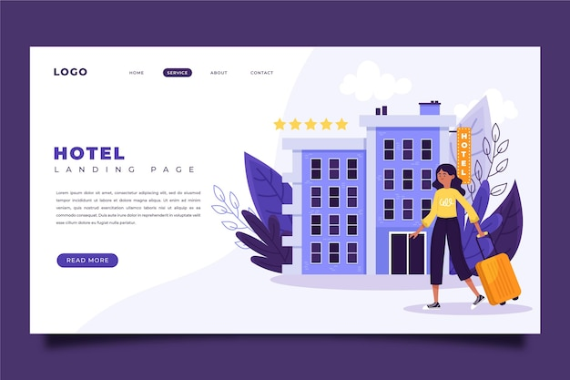 Página de inicio creativa del hotel con ilustración.
