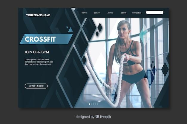 Página de inicio de crossfit con foto