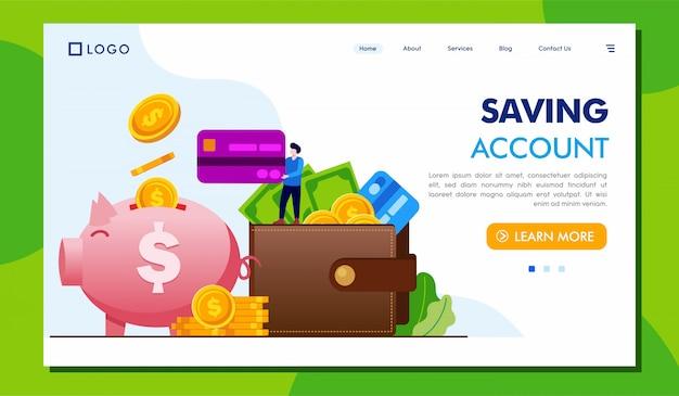 Página de inicio de cuenta de ahorro sitio web illustraton