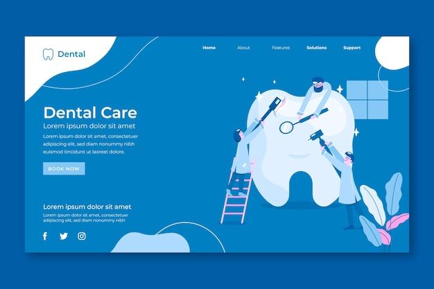 Página de inicio de cuidado dental de diseño plano