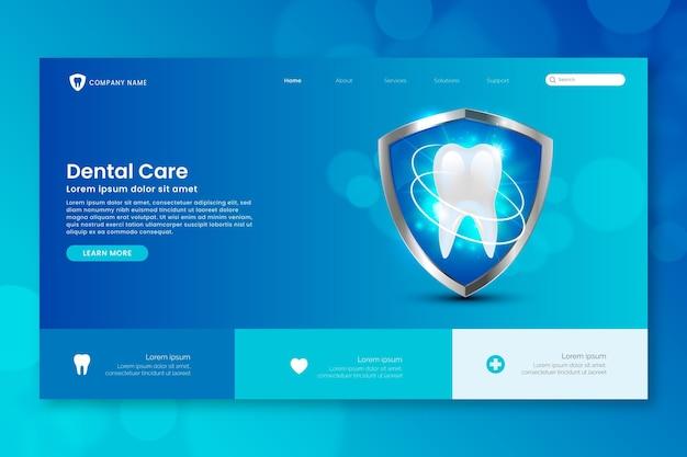 Página de inicio de cuidado dental de estilo realista