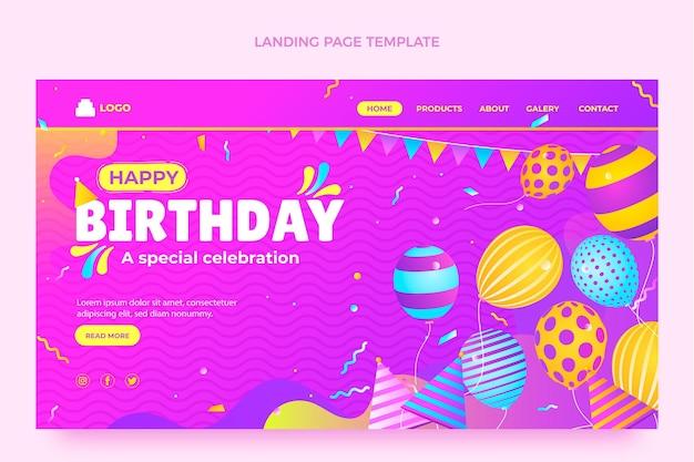 Página de inicio de cumpleaños colorido degradado