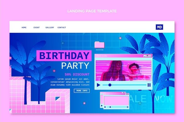 Página de inicio de cumpleaños degradado retro vaporwave