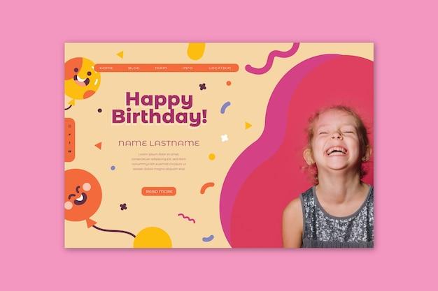 Página de inicio de cumpleaños para niños