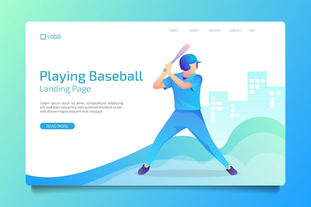 Página de inicio de deporte de béisbol de estilo plano