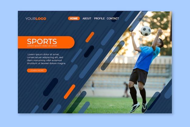Página de inicio de deporte con plantilla de imagen