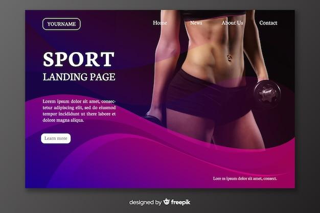 Página de inicio de deporte con vientre de mujer