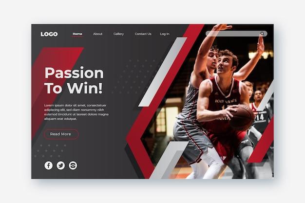 Página de inicio deportiva con foto