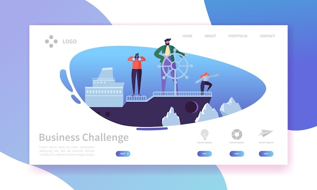 Página de inicio del desafío empresarial. banner con personajes de personas en el barco en plantilla de sitio web de aguas peligrosas.