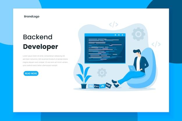 Página de inicio del desarrollador de backend de diseño plano