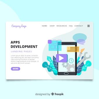 Página de inicio de desarrollo de app