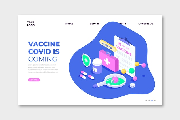 Página de inicio de desarrollo de vacuna isométrica de coronavirus